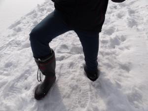 積雪60cmの遊歩道で、いきなり足がヅボッ!